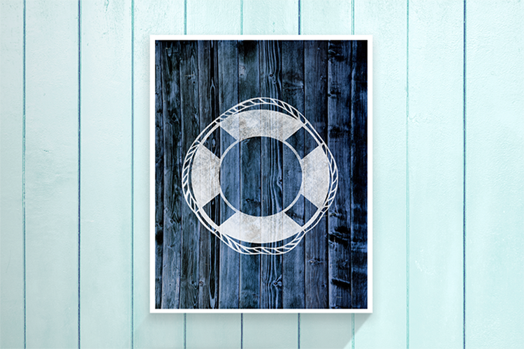 "Nautical Life Preserver - Blue -  8.5x11"" Print"