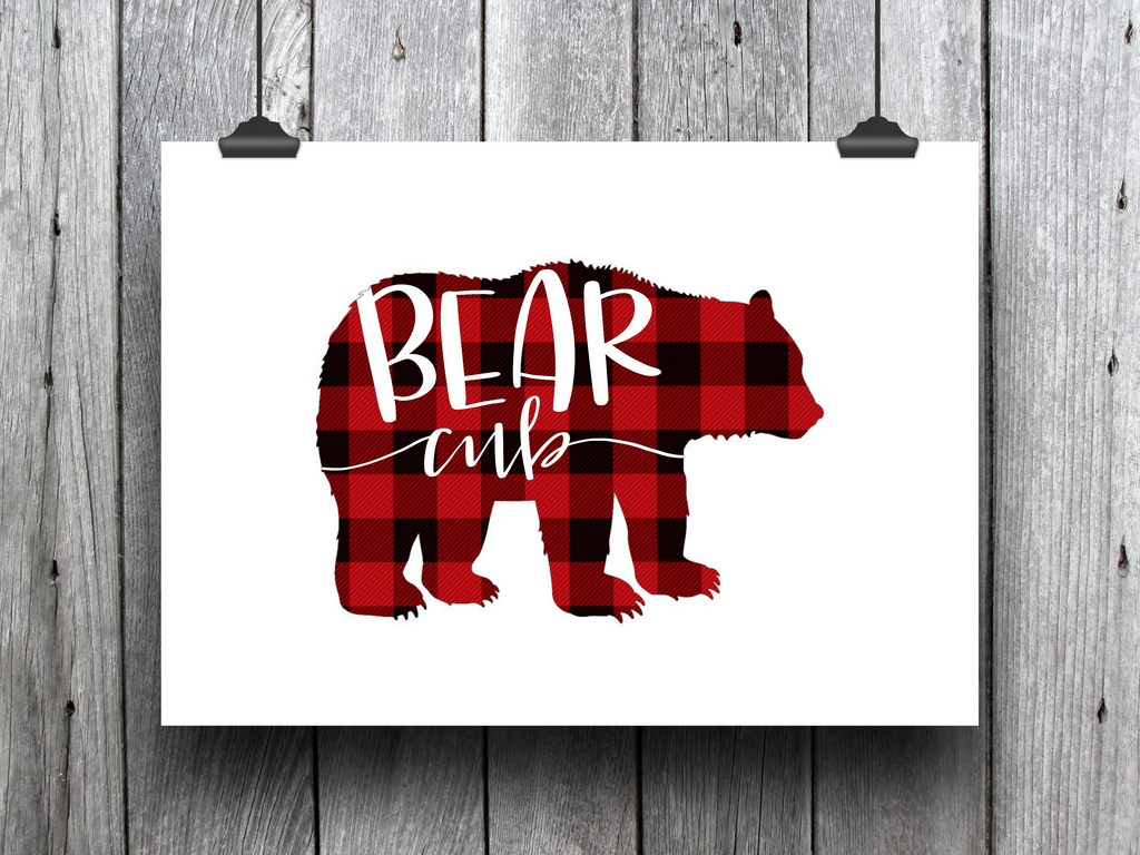 "Bear Cub (Red Plaid) -  8.5x11"" Print"