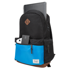 black and blue strata backpack