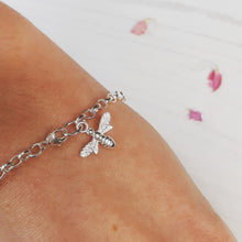 Load image into Gallery viewer, Silver bee bracelet