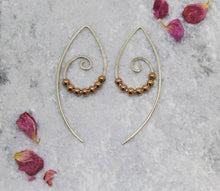 Load image into Gallery viewer, Rose Gold Boho Hoops - Boho Earrings - Pull Through Earrings - Handmade Jewellery - Rose gold - Handmade Earrings - Valentines