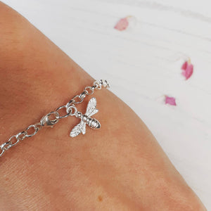 Silver Bee Bracelet, Bee Bracelet  Silver Bee, Bumble Bee, Nature, Gift For Her, Silver Bracelet, Bridesmaids, Bee fan, Honey bee