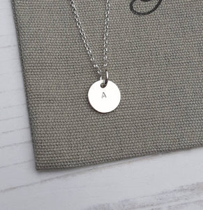 Silver Initial Necklace,Initial Disc,Silver Disc Necklace,Personalized Jewellery,Silver Necklace