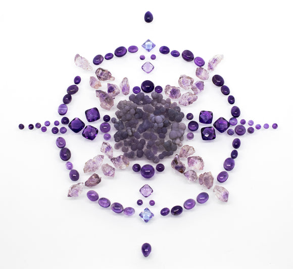 purple compass amethyst raw crystals cabochons grape agate