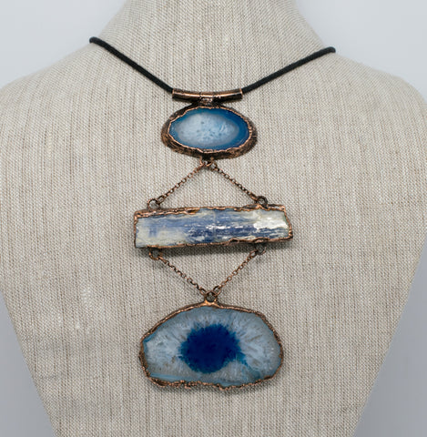 grace and frankie blue agate kyanite copper jewelry necklace statement piece