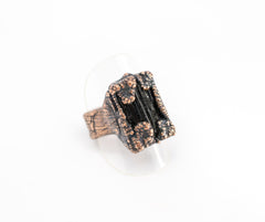 gothic black tourmaline copper electroformed ring