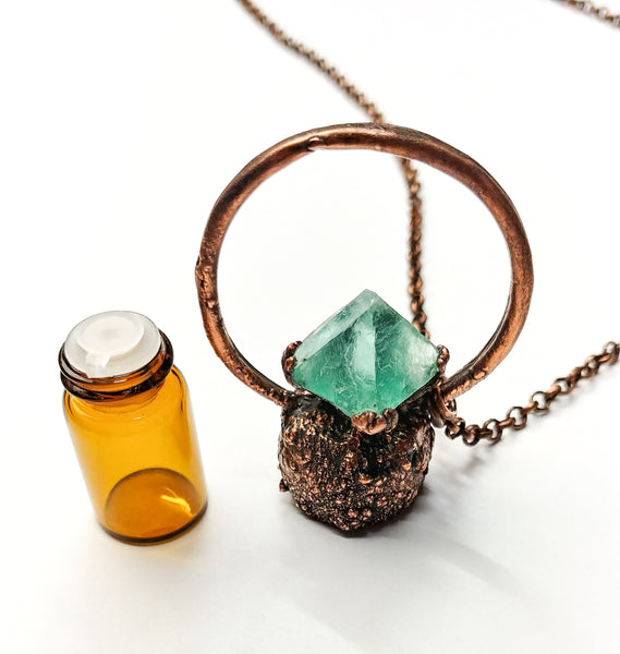 The Wacky Wanderers Teal Blue Octahedron Memory Essential Oil Bottle Necklace Pendant