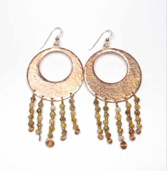 Hammered Copper Earrings with Jade Beads