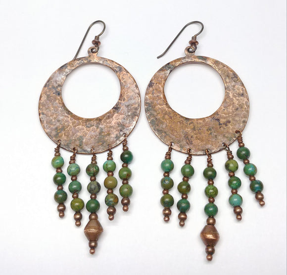 Hammered Hoop Dangle Earrings with Turquoise beads