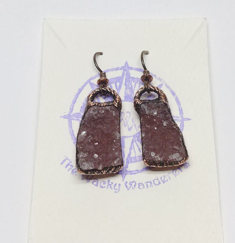 Amethyst Geode Crystal Cluster Dangle Earrings