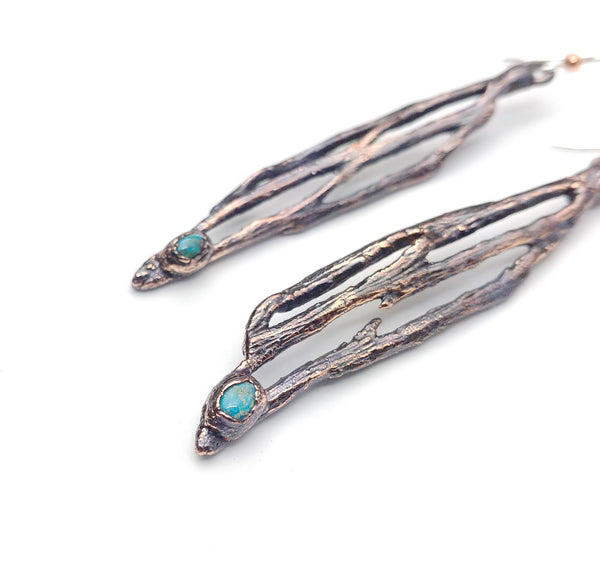 Cholla Cactus Drop Earrings with Morenci Turquoise