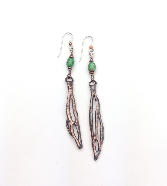 Cholla Cactus Drop Earrings with Turquoise Beads