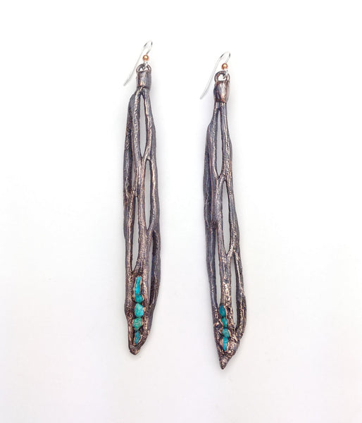 Cholla Cactus Drop Earrings w/Sleeping Beauty Turquoise