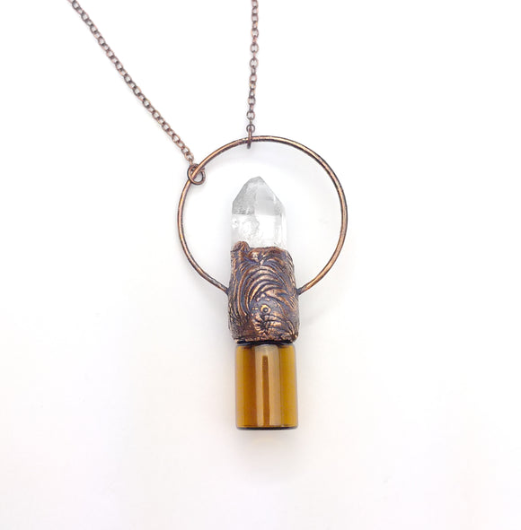 Quartz Crystal Point Aromatherapy Bottle Pendant