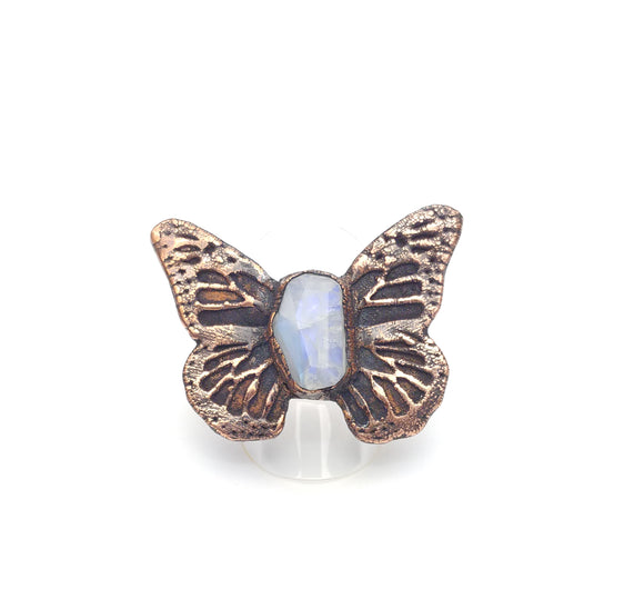 Butterfly Wings with Rainbow Moonstone Ring Size 9 1/2 - 9 3/4