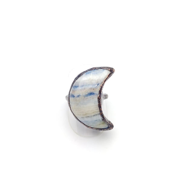 Turkish Blue Lace Onyx Crescent Moon Ring Size 8
