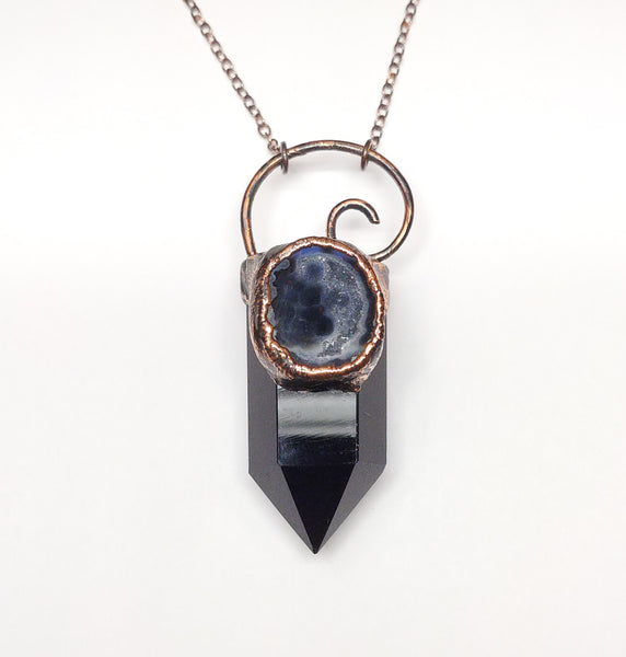 Black Obsidian Point with Tabasco Geode Pendant