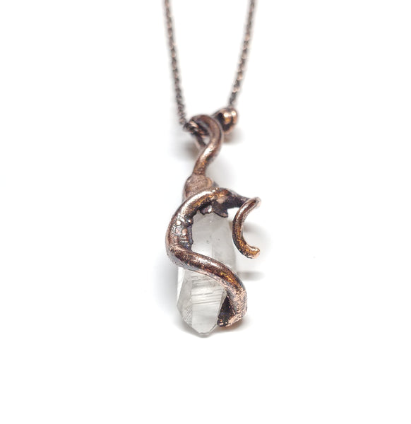 Twisted Vine with Raw Quartz Crystal Point Pendant
