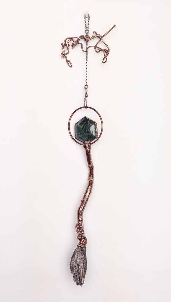 Kambaba Jasper & Kyanite Twisted Tree Limb Broom Wall Pendant