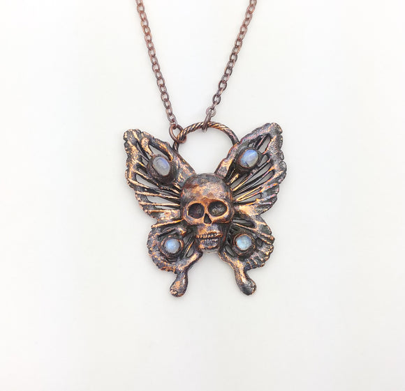 Butterfly Skull with Rainbow Moonstone