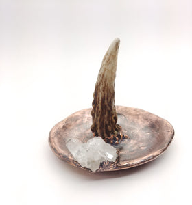 Ring Holder Dish with Antler and Crystal Cluster