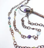 Raw Amethyst Point Kyanite Broom with Mixed Gemstone Chain