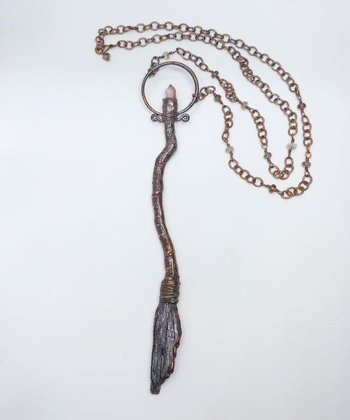 Red Quartz Point Besom Pendant with Smoky Quartz Beaded Chain