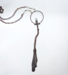 Copper Besom Pendant with Celestite and Moonstone Beaded Chain