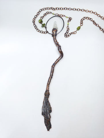 Copper Kyanite Besom with Quartz Points and Peridot Beaded Chain
