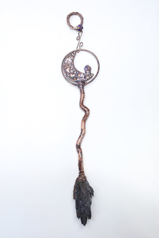 Twisted Vine Besom Wall Hanging w/ Filigree Crescent Moon & Amethyst