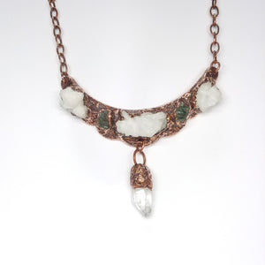 Crystal Cluster and Green Tourmaline Statement Bib Necklace
