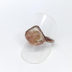 Strawberry Quartz Polished Nugget Ring Size 8