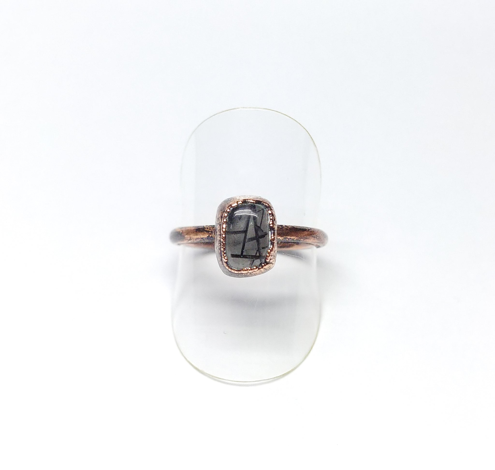 Tourmalinated Quartz Polished Nugget Ring Size 8-3/4