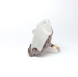Raw Clear Quartz Point Statement Ring Size 12-1/2