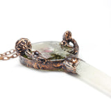 Singing Crystal Copper Mushroom Frame w/ Real Lichen & Moss Pendant