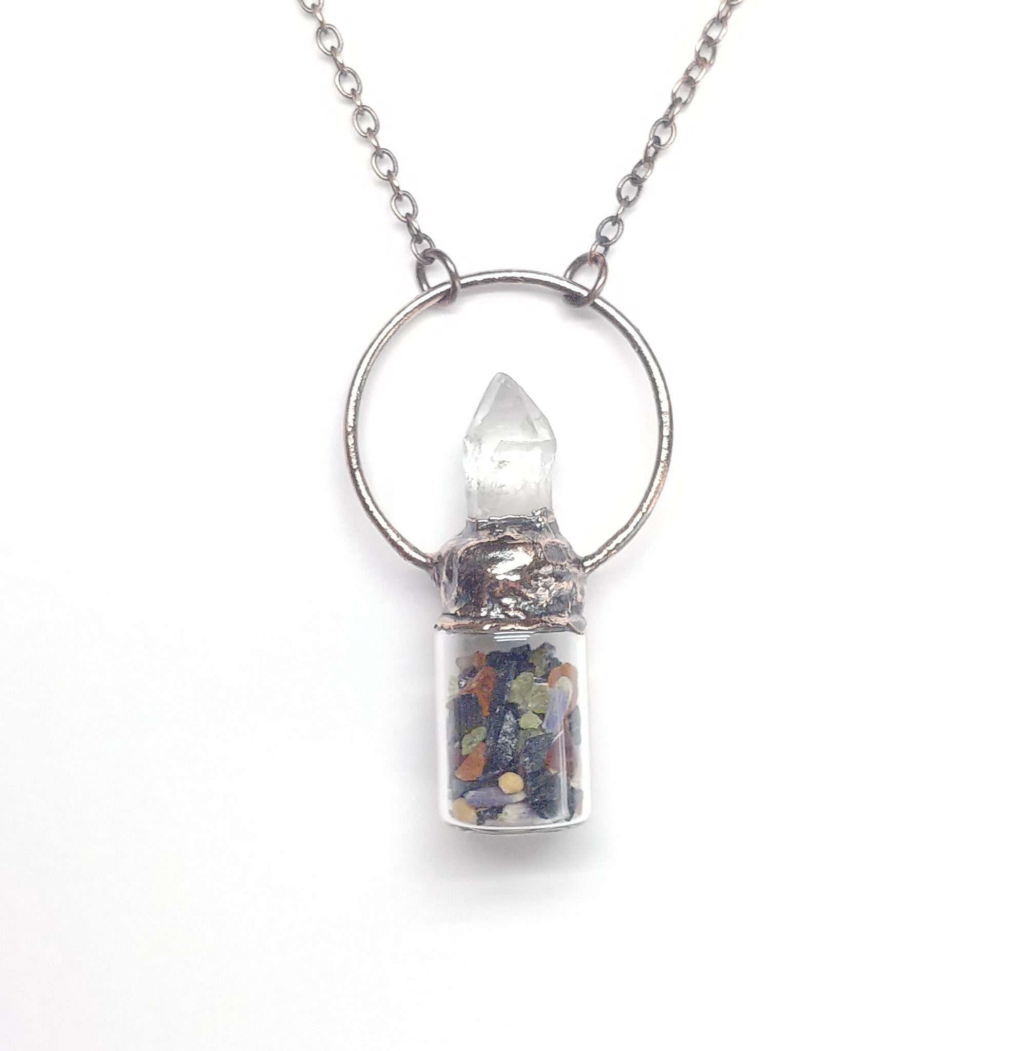 Abundance Bottle Pendant with Crystal Point