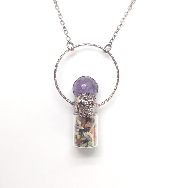 Abundance Bottle Pendant w/ Faceted Amethyst Sphere