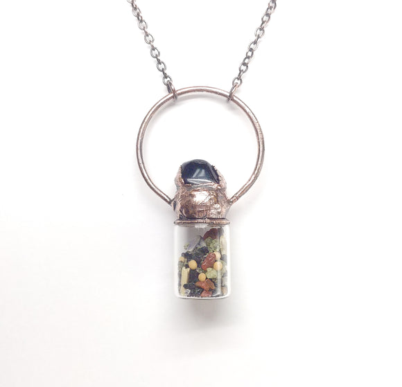 Abundance Bottle with Tumbled Obsidian Pendant