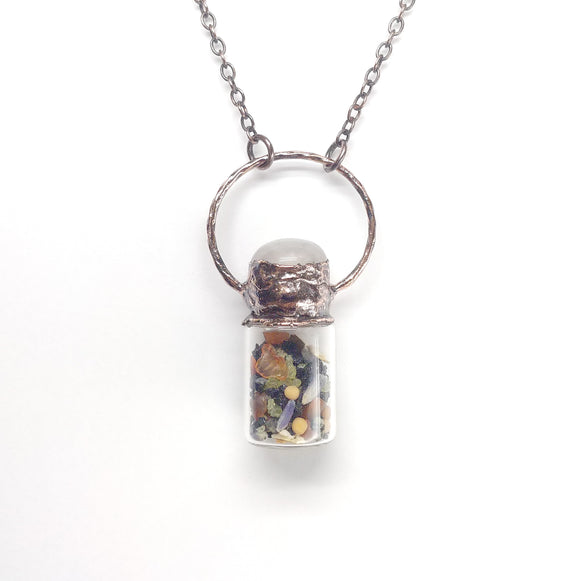 Abundance Bottle Pendant with Rose Quartz