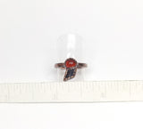 Raw Black Tourmaline w/ Carnelian Cab Ring Size 5