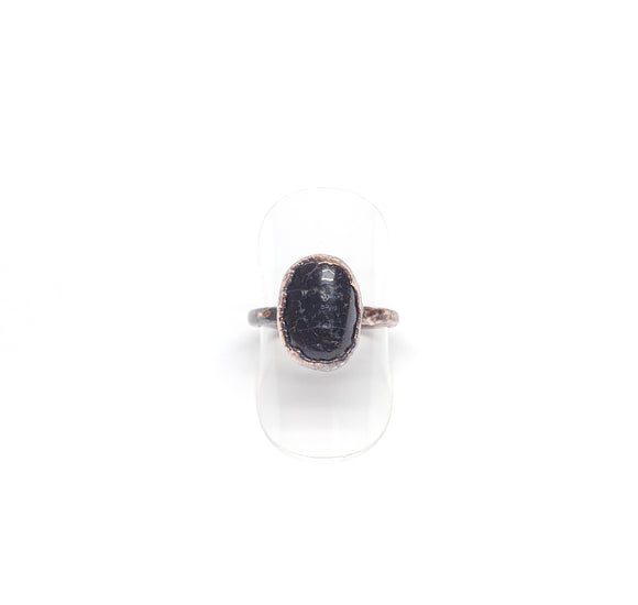 Tumbled Black Tourmaline Ring Size 7-1/2