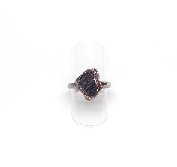 Raw Black Tourmaline Ring Size 5-1/2