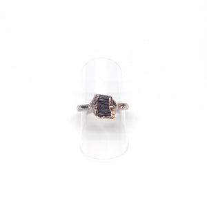 Raw Black Tourmaline Ring Size 5