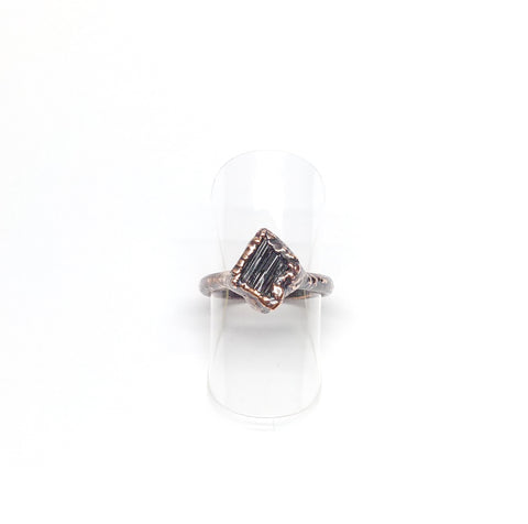 Raw Black Tourmaline Ring Size 4-1/4