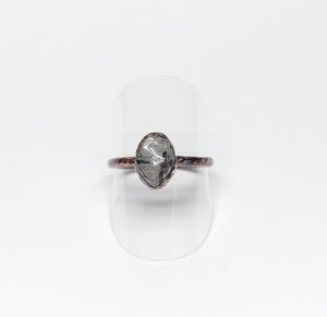 Tourmalinated Quartz Polished Nugget Ring Size 9-1/2