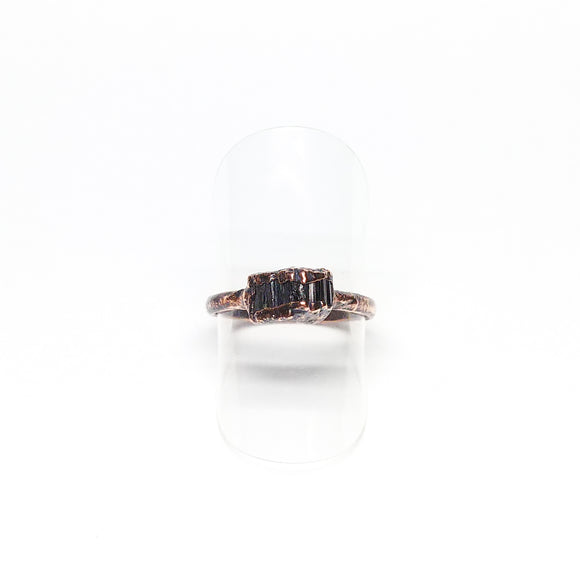 Raw Black Tourmaline Ring Size 6