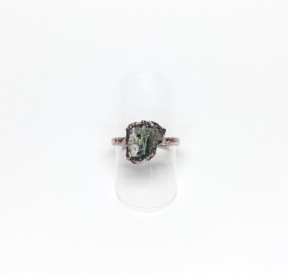 Raw Green Tourmaline Ring Size 6