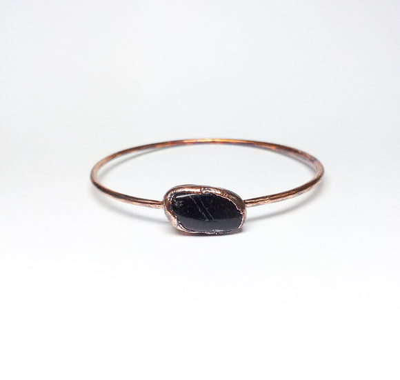 Polished Black Tourmaline Bangle Size L
