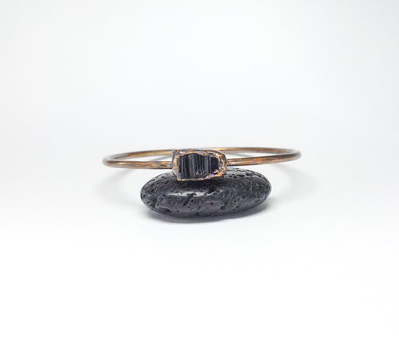 Raw Black Tourmaline Bangle Size S