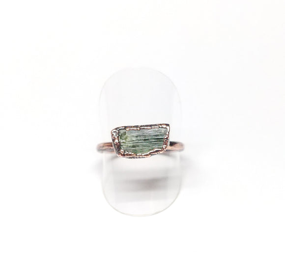 Raw Green Tourmaline Ring Size 9-1/2